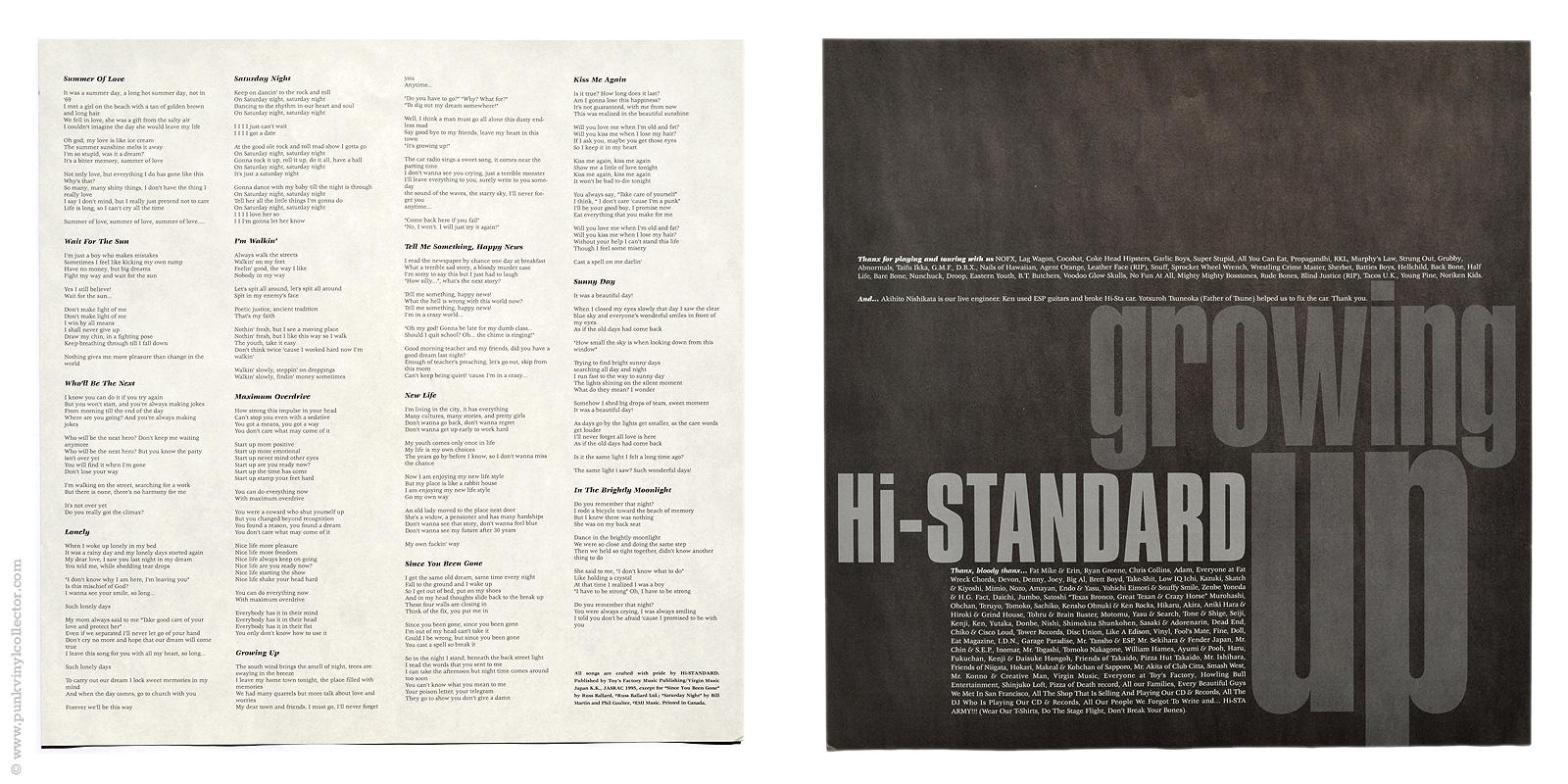 Hi standard punk vinyl collector lyric sheet front back hexwebz Image collections